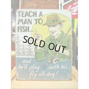 画像1: 釣りグッズ・インテリア【アメリカンブリキ看板】釣りを知ったならば 品番:BS011