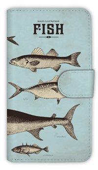 [アングラーズケース]【手帳型】ビンテージな魚図鑑 ブルー (商品コード: diary2015110501)