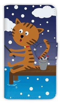 [アングラーズケース]【手帳型】猫と釣り 本日は雪なり (商品コード: diary2015110712)