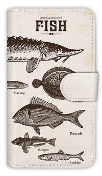 [アングラーズケース]【手帳型】ビンテージな魚図鑑 レモン (商品コード: diary2015110502)