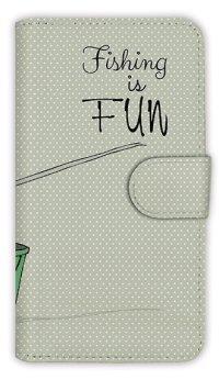 [アングラーズケース]【手帳型】レトロな可愛い男の子と釣り (商品コード:  diary2015110403)